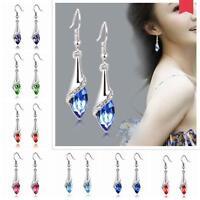 Women Crystal Silver Plated Jewelry Dangle Hook Ear Studs Earrings