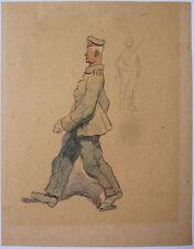 Dessin original de Edouard LAPEYRE vers 1915 militaire soldat aquarelle