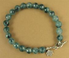 Moss agate bracelet. Fine & sterling silver. Leaf charm. Blue/green. Handmade.