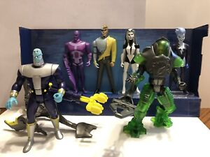 JLU Lot Metallo, Silver Banshee, Live Wire, Parasite, Brainiac with sled, Lex