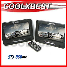 "NEW DUAL 9"" SCREEN IN CAR PORTABLE DVD PLAYER w USB SD 12v 240v Region Free"
