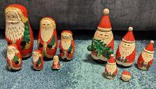 2 Christmas Santa Claus Wood Russian Nesting Dolls Set STACKING