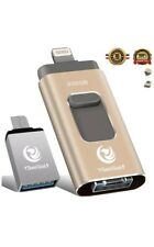 New 256GB 3in1 + USB C Flash Drive 3.0 for iOS iPhone iPad Android Tablets Gold