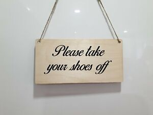 Personalised Plaque Take Your Shoes Off Name Words Sign Home Wood Colours Hang