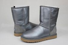 UGG CLASSIC SHORT METALLIC NICKEL SUEDE SHEEPSKIN BOOTS WOMENS SIZE 10 US