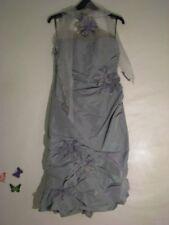 Linea Rafaelli Shimmer Gray-Green Ruffle Formal/Evening Dress  S: 10-12