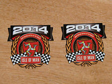 x2 decals - ISLE OF MAN RACES 2014 crest/shield - size 58mm