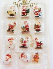 12 Mini Resin Christmas Tree Ornaments 11 Santas 1 Gingerbread Boy New