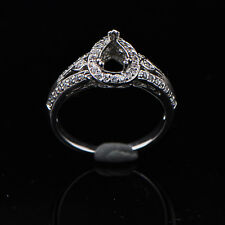 6x8mm Pear Cut Solid 18k 750 White Gold Natural Diamond Semi Mount Ring