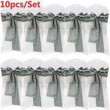 10PCS 17*275cm Linen Jute Chair Sashes Chair Tie Bow Wedding Party Home Decor