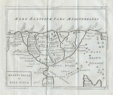 1779 Ancient Egypt Nile Delta Genuine Antique Map Cellarius