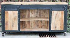 Vintage Industrial Steel Timber Sideboard Sliding Door Buffet on Castors