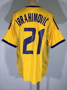VINTAGE ADIDAS SWEDEN WORLD CUP 2002 IBRAHIMOVIC FOOTBALL SHIRT SOCCER JERSEY L