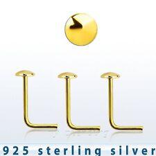 3pcs. 22G 2mm Piatto Top 18K Placcato Oro .925 Argento Sterling NASO a Bottone