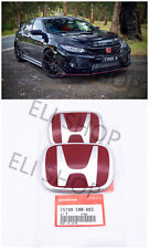2PCS JDM Red H Emblem Front Rear Fit For 2006-15 HONDA CIVIC SEDAN