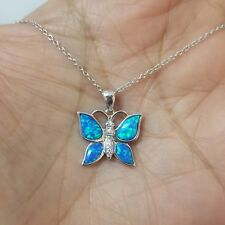 Created Blue Opal & White Sapphire Stones Butterfly Pendant in Sterling Silver