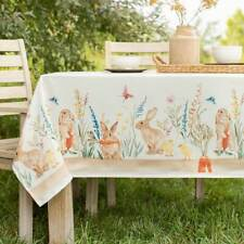 Bunny Trail Easter Print Textured Fabric Tablecloth - Easter Print Tablecloth
