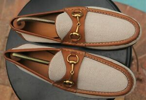 Men's GUCCI Two tone  color leather canvas  Trendy Loafers  Brand Size  8.5 D
