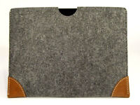 """iPad PRO 12.9"""" felt with leather CORNERS sleeve wallet case UK MADE, PERFECT FIT"""
