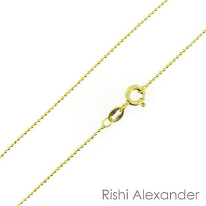 14k Gold over 925 Sterling Silver Ball Bead Diamond Cut 1mm Chain Necklace