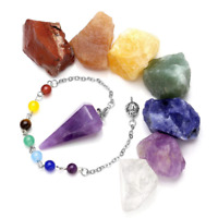JSDDE 7 Chakra Raw Stones Rough Rock Crystals And Natural Gemstone Dowsing Reiki