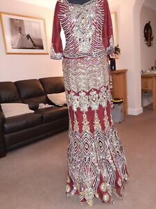 Asian Indian Pakistani Bridal Lengha Wedding Dress Outfit Red Size 8-10 .
