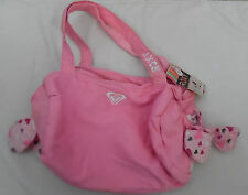 New Roxy Pink Canvas Hearts Handbag Purse Carryall Small Zippered Bag