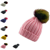 Boys Girls Kids Children Pom Pom Hat Fur Bobble Knitted Beanie Winter Wear