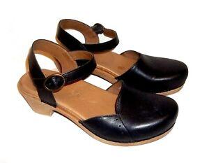 Dansko Leather Shoes, Black Clog/Ankle Strap Style, Size 7