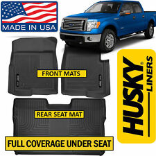 Husky X-Act Contour 2009-14 Ford F-150 SuperCrew FULL COVERAGE Floor Mats BLACK