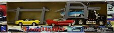 New Ray Camion Américain Transport Auto + 3 Voitures Vintage - Echelle 1/43 -
