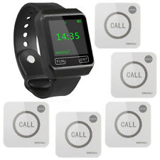 SINGCALL Wireless Calling System for Kitchen, Bar,1 Watch 5 Touchable Bells