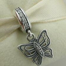 Genuine sterling s925 silver vintage butterfly dangle pendant charm authentic