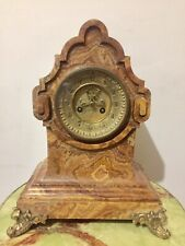 Unusual French Sienna Marble Boulle Shaped Mantle Clock By  Vincenti .