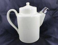 Vintage Hall China Restaurant Ware White Teapot with Silver Spout