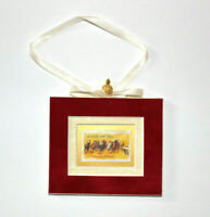 Horse Racing Hand Crafted Velvet Framed USA Stamp Christmas Tree Ornament