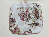 Lot of 4 222 Fifth Gabrielle Square Plates Floral Paisley Scalloped ~ 8 3/4 in