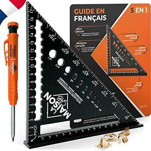 EXCLU FR Equerre Menuisier MULTI FONCTIONS 180 mm [+CRAYON +NOTICE FR] Metal Alu