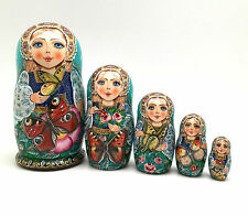 Unique Russian Nesting DOLL Butterfly Hand Painted Babushka