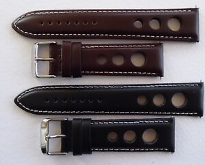 GRAND PRIX/RALLY/GOODWOOD CALF STRAP BLACK OR BROWN/WHITE STITCHING 20MM - 24MM