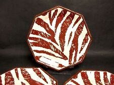 "(4) RAYMOND WAITES Certified International Safari Zebra 11 1/2"" Dinner Plates"