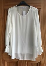 Evans New Off White Cream Business Work Plus Size Shirt Blouse Top Sze 16 - 28