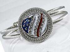 Silver Cable Cuff Bracelet American Flag Crystal Interchangeable Charm Noosa
