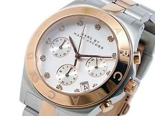 NUOVO MARC JACOBS Rose Gold Tone Lunetta SILVER DIAL CHRONO OROLOGIO DONNA mbm3178