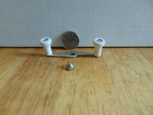Vintage replacement or spare Zebco part crank handle and nut white New
