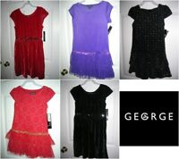 Girls Party Dress size (4-5, 7-8, 10-12, 14-16) Choice Red Purple Black  T19