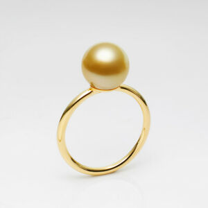 Classic 5A+ Round Flawless 9-10mm Golden South Sea Pearl Ring 18K Yellow Gold,6#