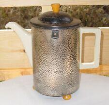 Vintage 1940's WMF Art-Deco Bauhaus Hammered Silver Porcelain Tea/Coffee Pot