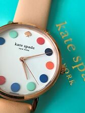 NWT Kate Spade 1YRU0735 Metro Multi-color Dot Rose Gold Vachetta Leather Watch