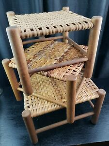 Vintage Wooden Wicker Foot Stool Handwoven LOT OF 3 MUST SEE!!